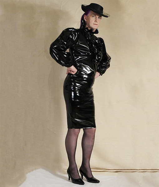 black gloss pvc blouse and pencil skirt wicked waists. Black Bedroom Furniture Sets. Home Design Ideas