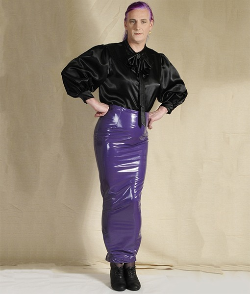 1771fe4d14 Black Satin Blouse with Purple Hobble Skirt - Wicked Waists