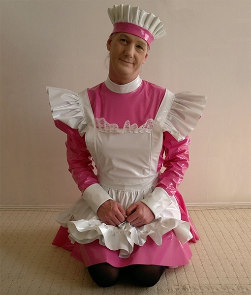 Pink pvc maids uniform