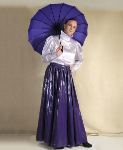 victorian style blouse and long purple skirt