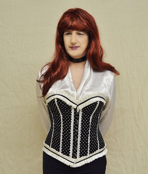 Phaze polka dot ribbon trim boned corset