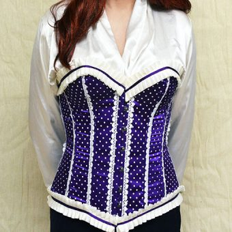 Phaze Purple Polka Dot/Ribbon Trim Boned Corset