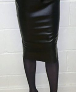 Black leatherette pencil skirt