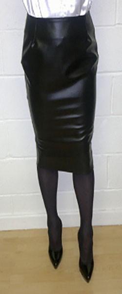 Black leatherette pencil skirt