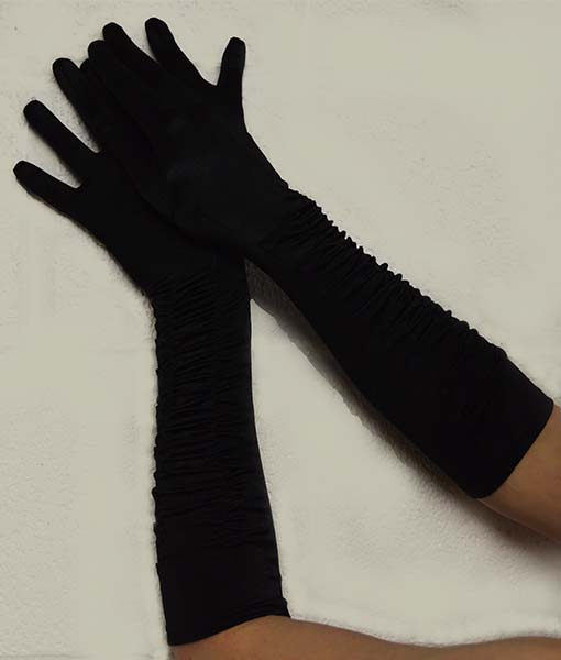 Black stretch satin oprea gloves