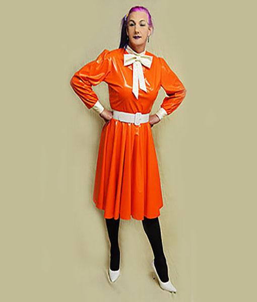 Orange pvc dress