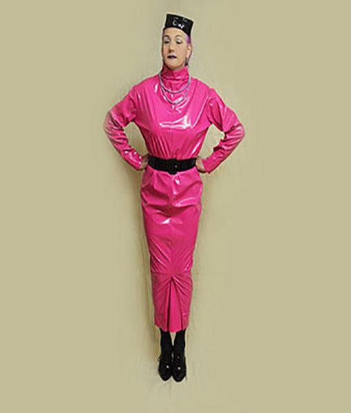 pink pvc extreme dress