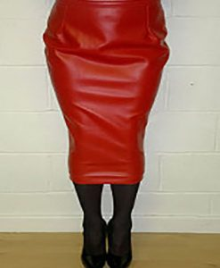 Red leatherette extreme calf length hobble skirt