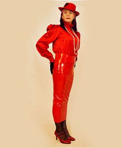 Red pvc extreme skirt with red satin blouse