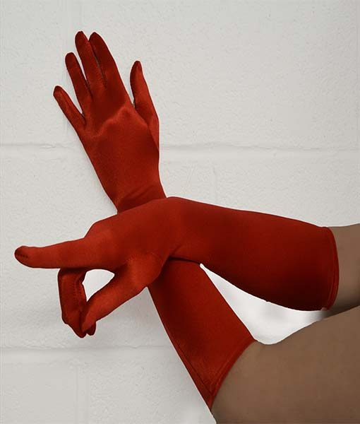 Red Stretch Satin Gloves Ideal for evening and alternative wear.