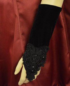 Short lolita fingerless velvet gloves