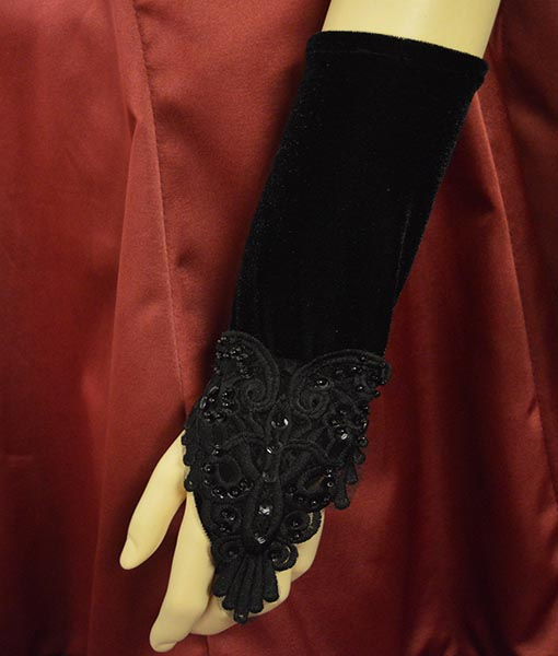 Short lolita fingerless velvet gloves