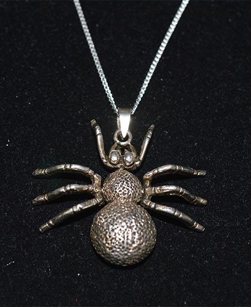 Sterling Silver Large Spider Necklace
