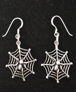 Sterling Silver Spiderweb Earrings