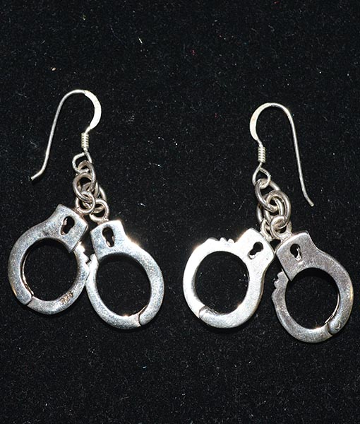 Sterling Silver Working Handcuffs Earrings