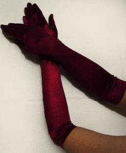 burgundy stretch satin gloves.