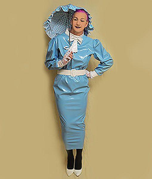 light blue pvc extreme hobble dress