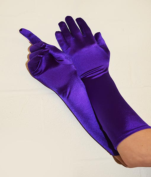 purple satin gloves