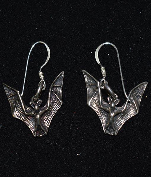 Sterling Silver Bat Earrings