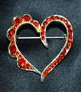 Diamante red heart brooch