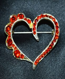 Diamante red heart brooch