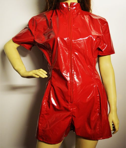 Red pvc playsuit