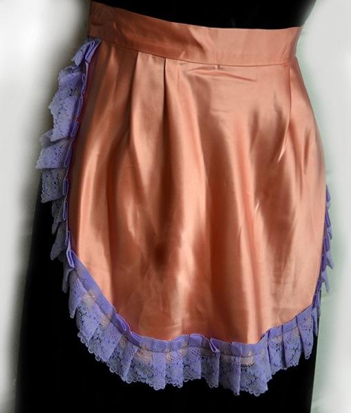 pink acetate satin apron