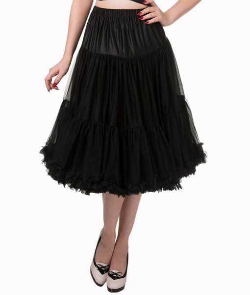 Vintage style lifeforms petticoat in black