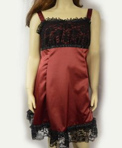 Wine satin lace strap dress