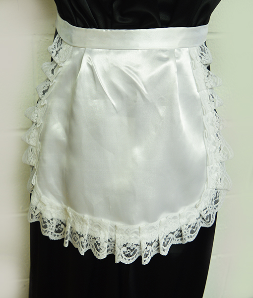 white satin apron