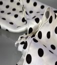 Polka dot head scarf close up two