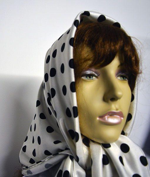 polks dot satin head scarf
