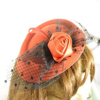 Rose & Net Fascinator close up
