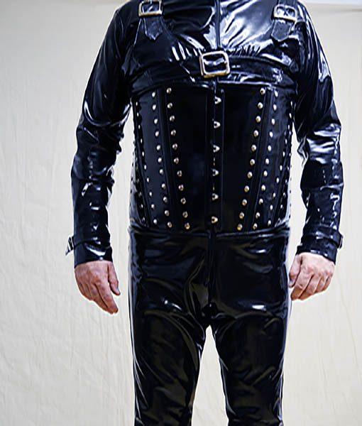 black pvc stud corset