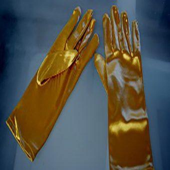 Short gold stretch satin gloves
