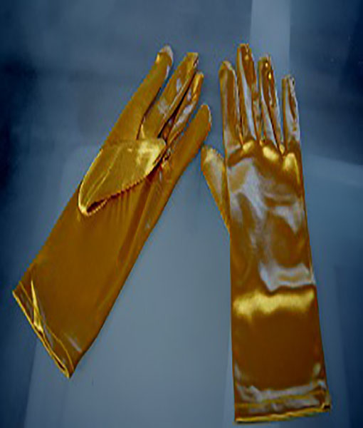 Short gold stretch satin gloves
