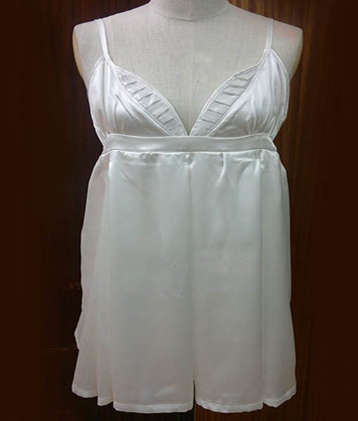 White silk satin dress