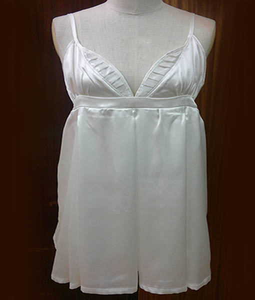 White silk satin dress