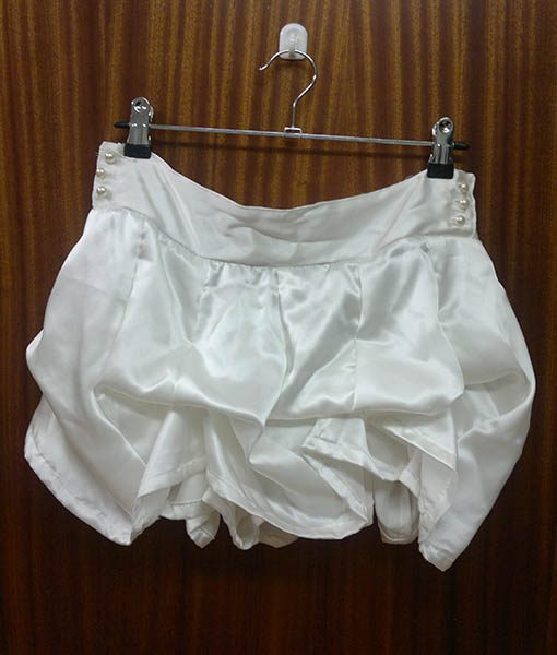 White silk satin mini skirt