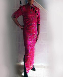 pink chinese cheongsam dress