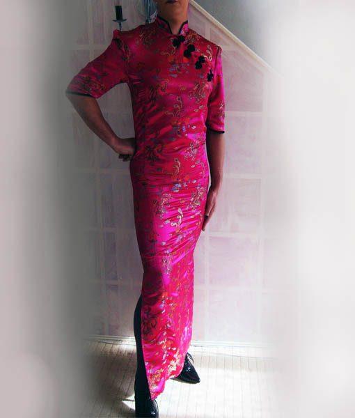 pink chinese cheongsam dress