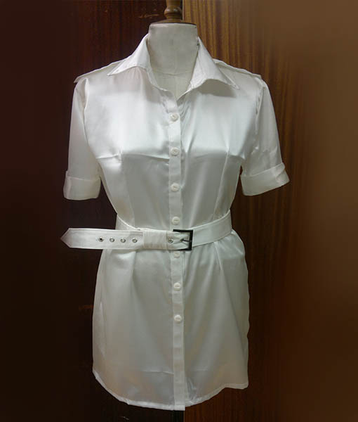 White Silk Satin Shirt Dress