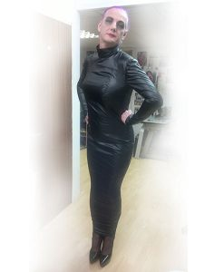 Extreme Black Nylon Hobble Dress