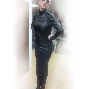 Extreme Black Nylon Hobble Dress