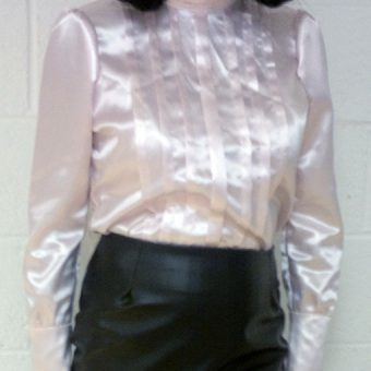 Pale Pink Acetate Satin Blouse