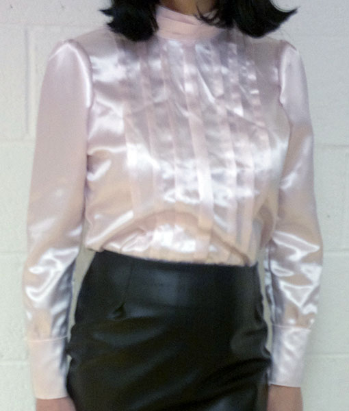 Pale Pink Pleated Acetate Blouse