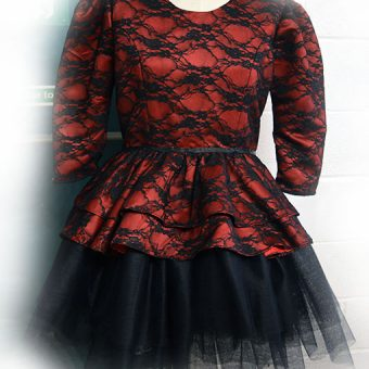 Victorian gothic inspired wine dress