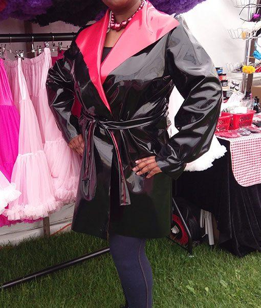 Black red reverse pu wrap coat