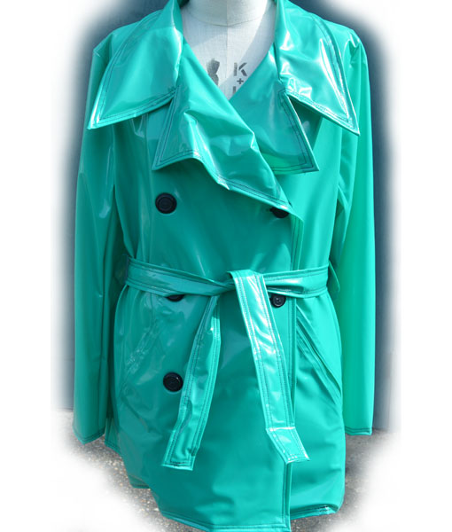 Green Pvc Traditional Short Trench Mac