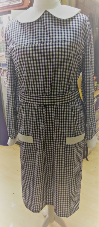 Navy Blue Gingham Maids Dress
